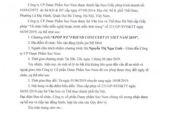 Đại nhạc hội hữu nghị Việt - Hàn lùi lịch biểu diễn vào tháng 8